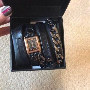 La Mer Malibu leather wrap around watch bracelet